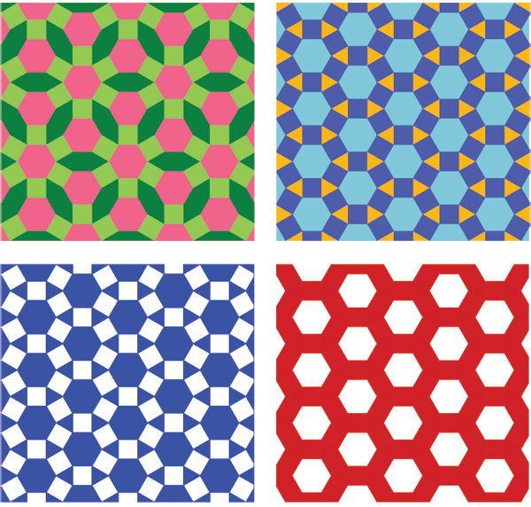 Pattern with squares triangles and hexagons