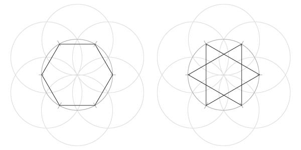 Static hexagon and hexagram