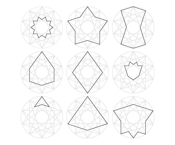 Decagram grid shapes