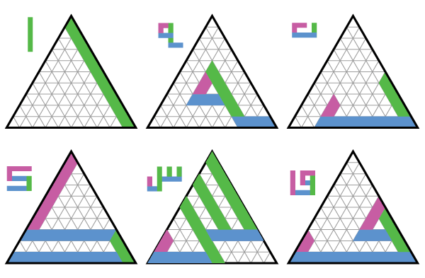 Letters in the triangular grid