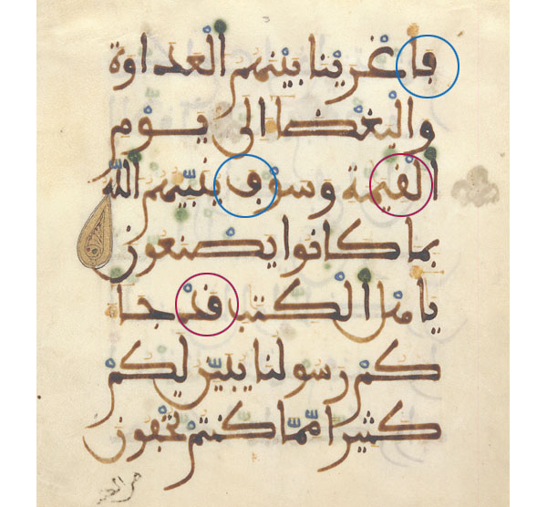 Diacritics in a Maghribi text