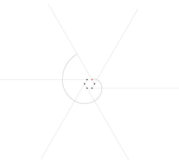 Regular spiral on six points step 6
