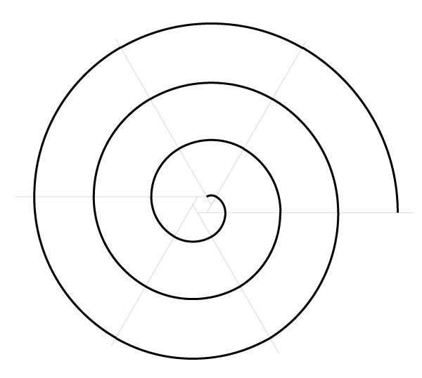 Regular spiral on six points finished