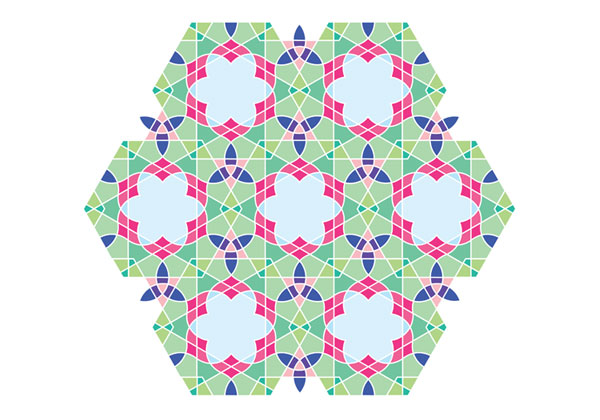Flowery tiling pattern version 1 coloured