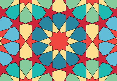 geometric design tenfold star in a rectangle