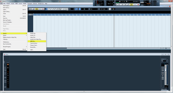 Select MIDI File from the File  Import menu