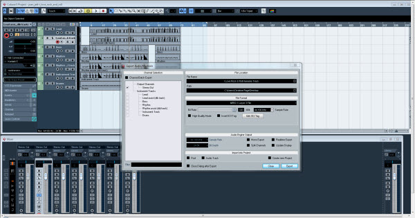 Export Audio Mixdown Window
