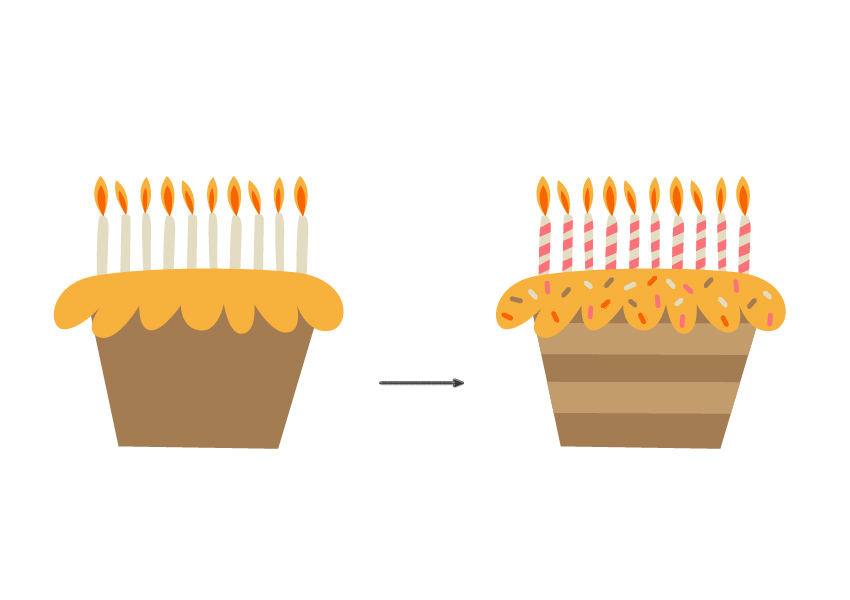 A comparison of the cake without and with the added details