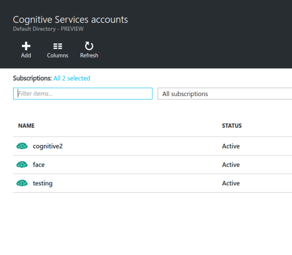 Cognitive Services Accounts