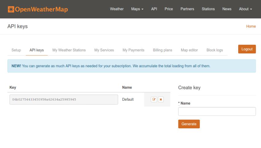 OpenWeatherMap generate API keys