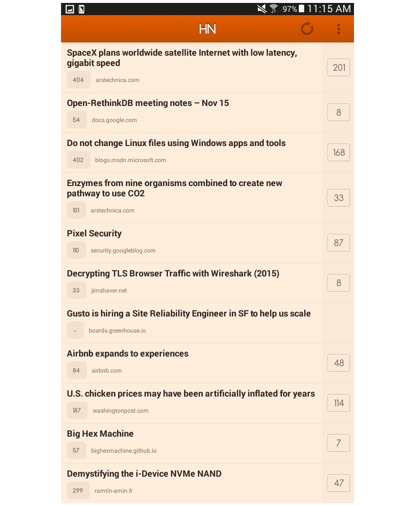 news layout hacker news app