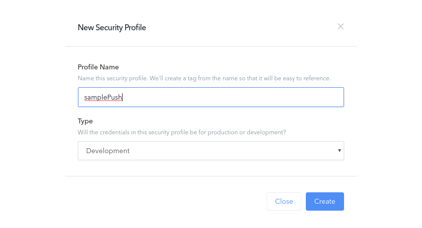 Create new security profile