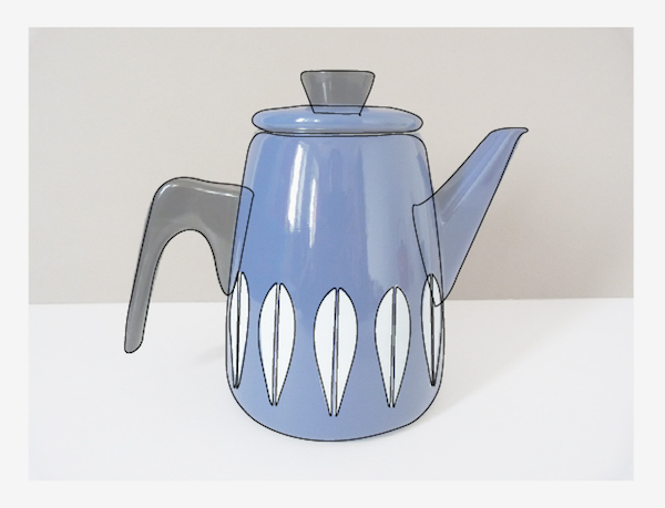 Outline coffee pot with pen tool