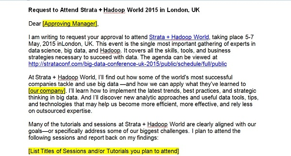 How to convince your boss to pay for your training with scripts and get training strata hadoop request letter altavistaventures Choice Image