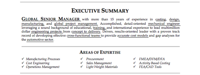 resume executive summary example with keywords underlined
