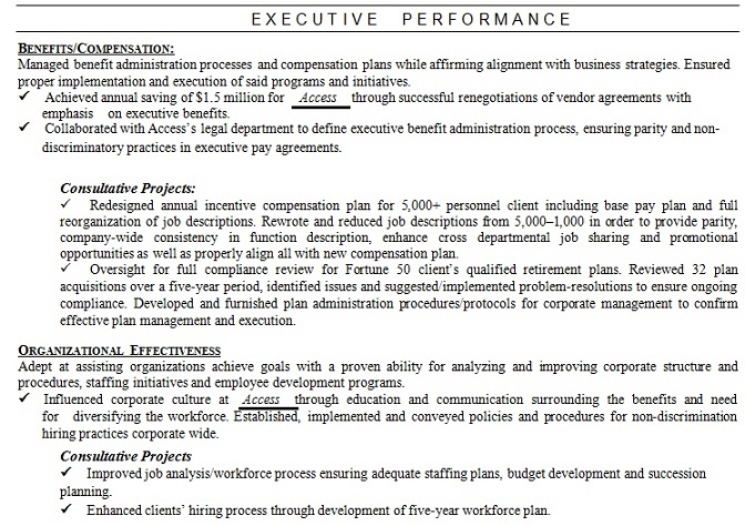 How to write the perfect executive resume for managers and senior example of areas of expertise skills section in a combination resume format altavistaventures Gallery