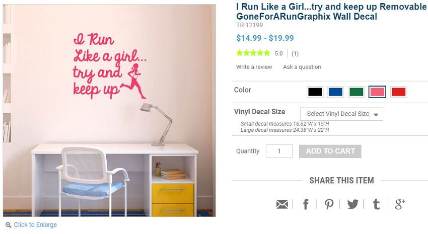 wall decal for female runners