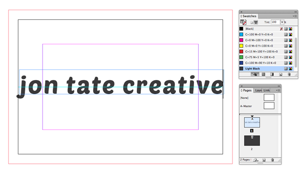 Get yourself noticed create a simple business card in indesign drag a horizontal guideline down from the top ruler to the center point of the card 275 mm and use this to position the text frame on the horizontal colourmoves