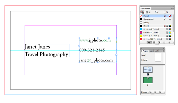 Get yourself noticed create a simple business card in indesign you can pull out key words or details in bold and give less important letters and glyphs a color of business card green reheart
