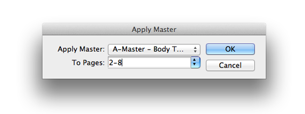 apply master to pages
