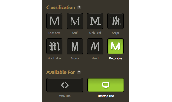 typekit selection