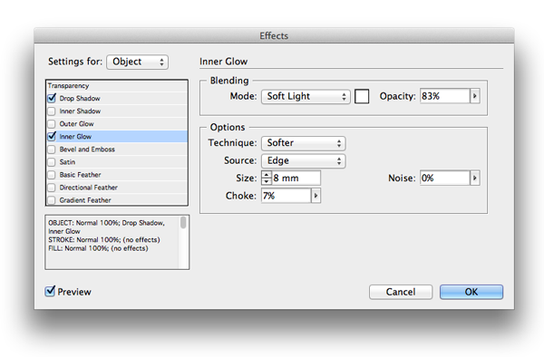how to change opacity of a shape in indesign