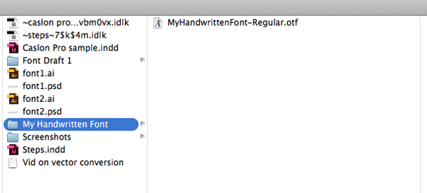 otf font in folder