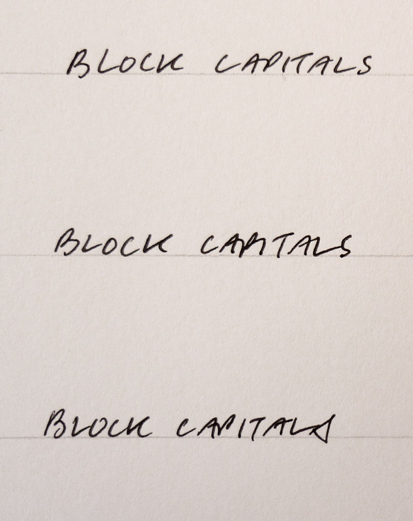 block capital writing