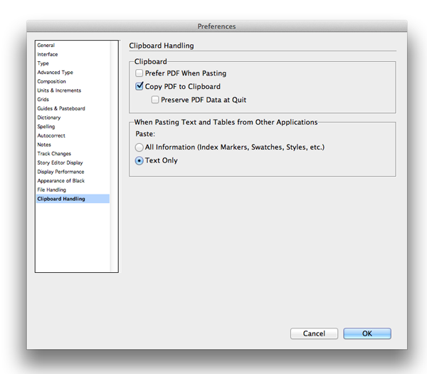 InDesign preferences