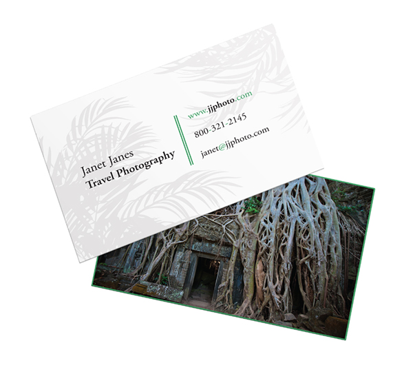 business card with photo and illustration
