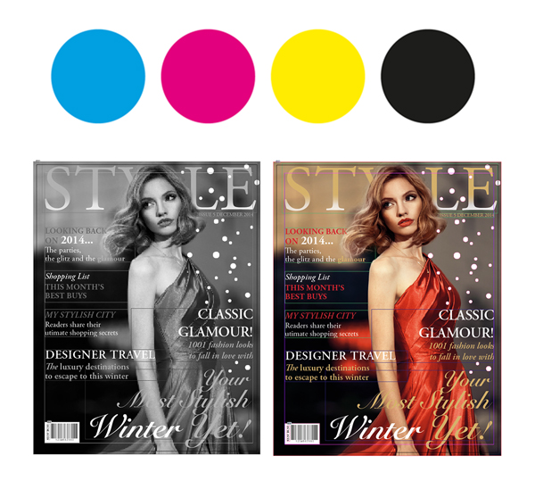 CMYK print next to magazine covers