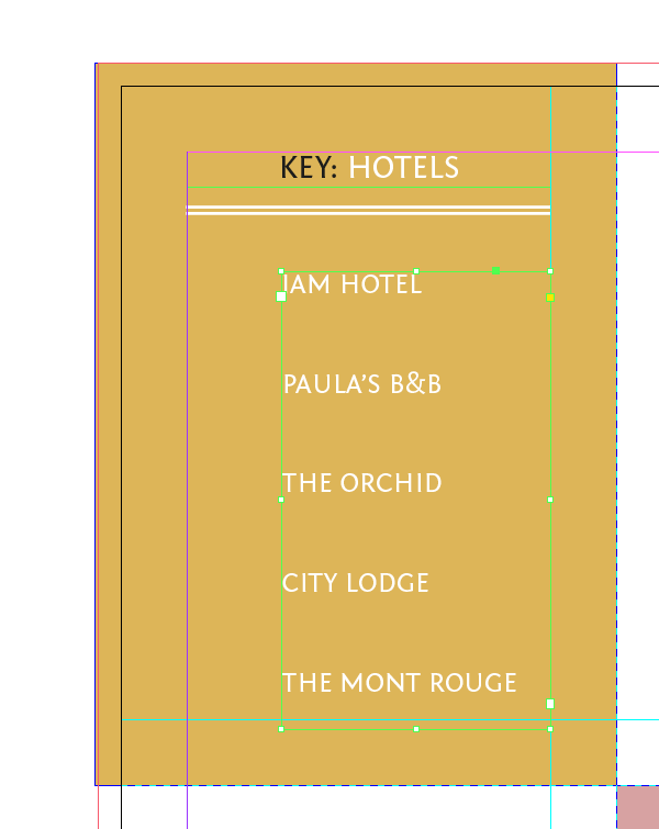 text frame with hotel list