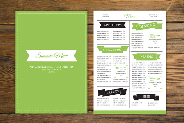 how to create a tasty trendy menu card in adobe indesign. Black Bedroom Furniture Sets. Home Design Ideas