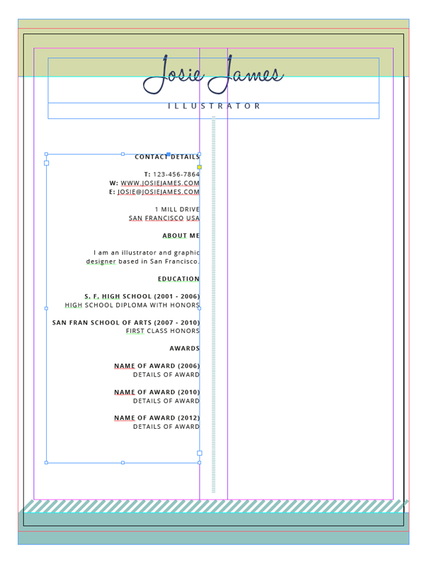 resume with text frame