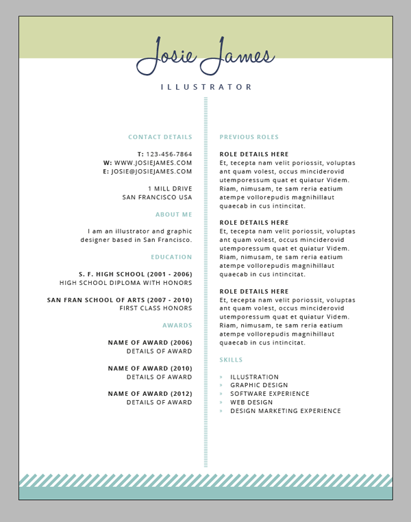 create a branded resumé letterhead and business card in adobe indesign