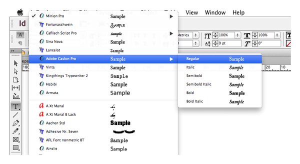 font menu in indesign