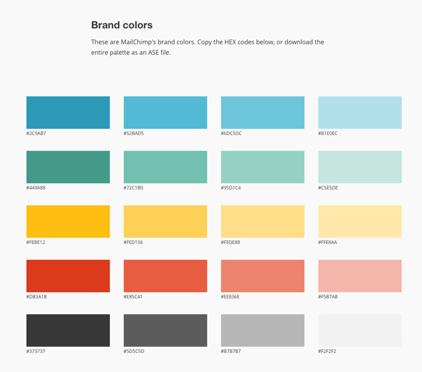 mailchimp brand colors