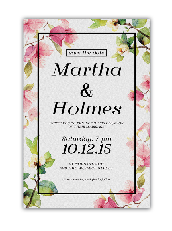 floral invite in white