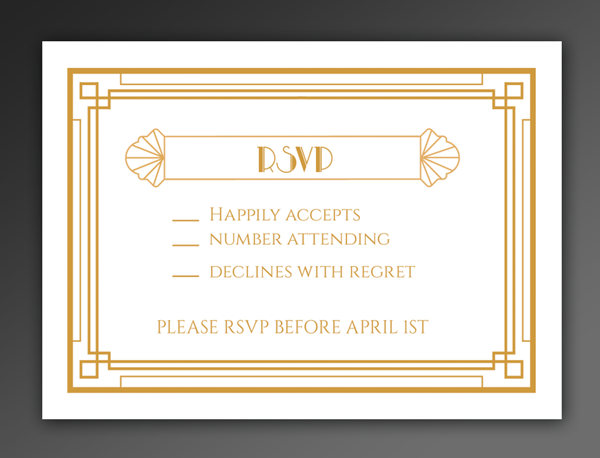 RSVP card in landscape format