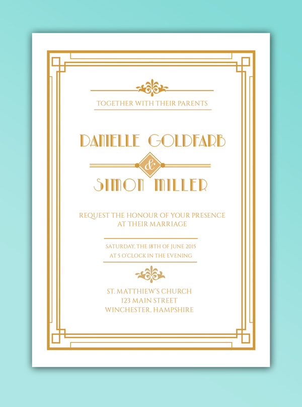art deco invite