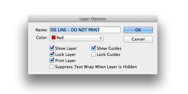 layer options die line