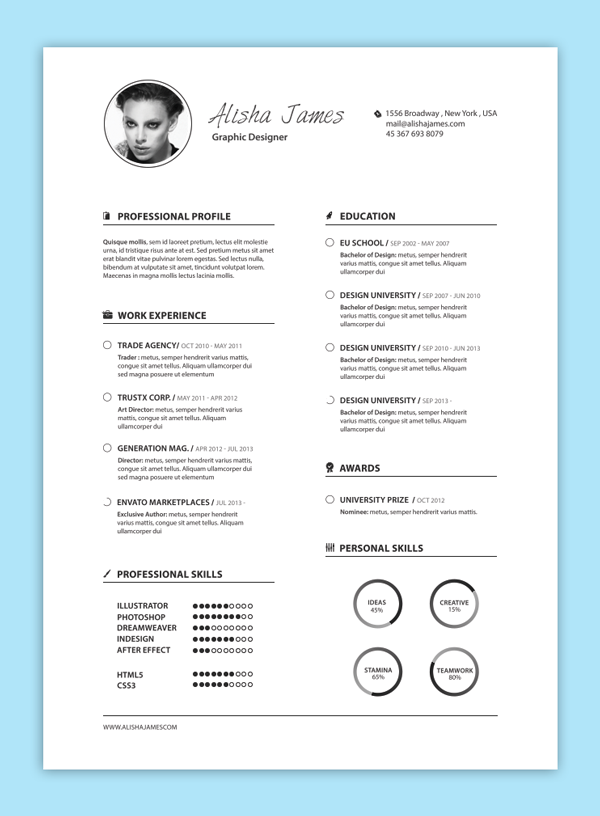 resume with black and white photo