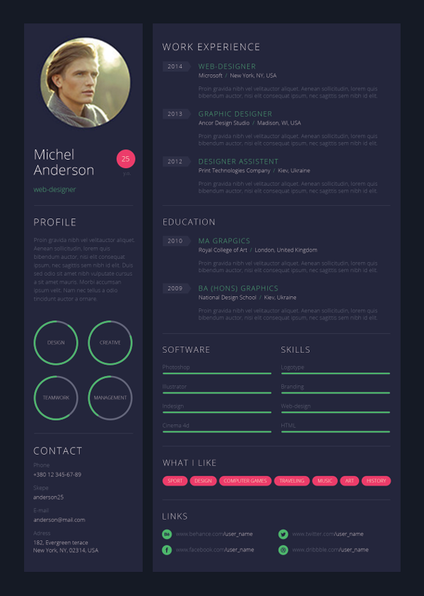 wed designer resume - Creative Resume Design Templates