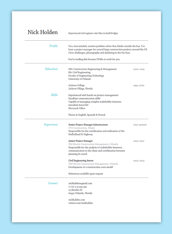 Simple Resume Layout  Resume Design Examples
