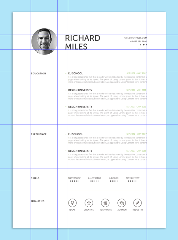 Resume With Grid  Layout For A Resume