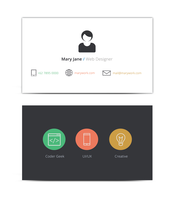 flat design card front and reverse