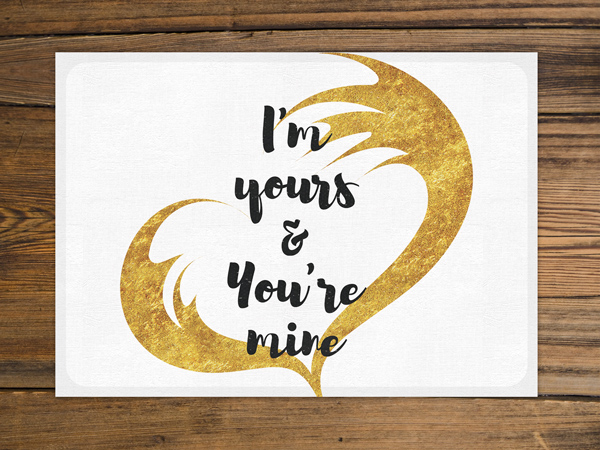 gold valentines card