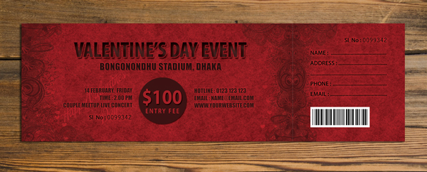 valentines event ticket
