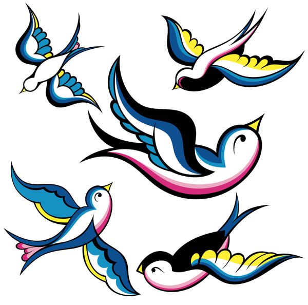 original image of swallows