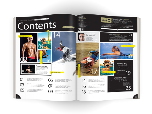 sports magazine contents